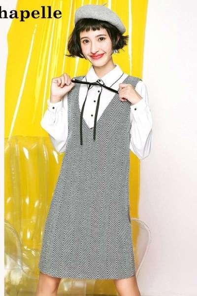 新品拉夏贝尔Puella秋季女装新款韩版学生显瘦假两件背带裙女20011262
