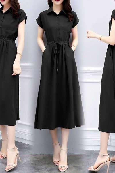 短袖衬衫连衣裙女夏2020新款女装修身气质显瘦长款小清新流行夏天雪纺裙子