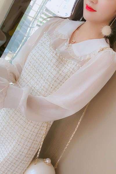 2020春装新款女装连衣裙小香风长袖中长款潮流行裙子网红