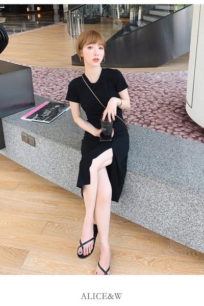 迪施玛 2019夏季新款条纹开叉法国小众连衣裙女夏收腰气质显瘦中长裙子