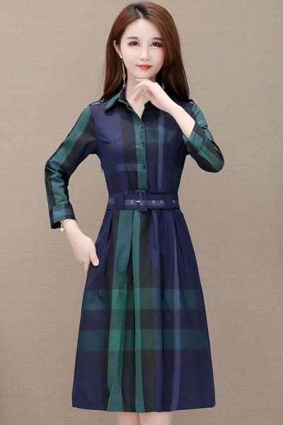遇见衣姿格子连衣裙秋装女2019新款气质时尚收腰中长款长袖