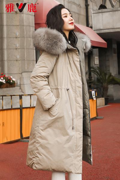 yaloo/雅鹿羽绒服女中长款过膝新款修身韩版大毛领加厚羽绒外套女
