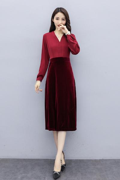 雅馨季拼接时尚韩版V领2020年春季优雅知性连衣裙HZ99957