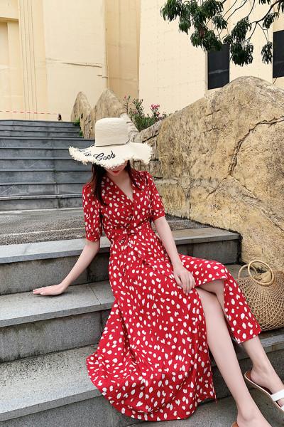 迪施玛 v领长款裙子女夏季气质波点过膝法式显瘦泡泡袖桔梗连衣裙