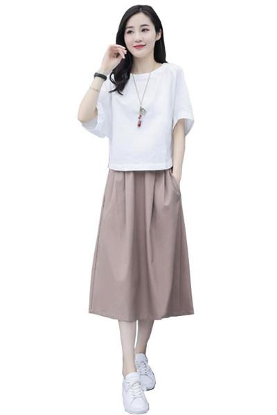 迪施玛 棉麻时尚套装女2019夏季新款韩版宽松裙子中长款连衣裙亚麻两件套