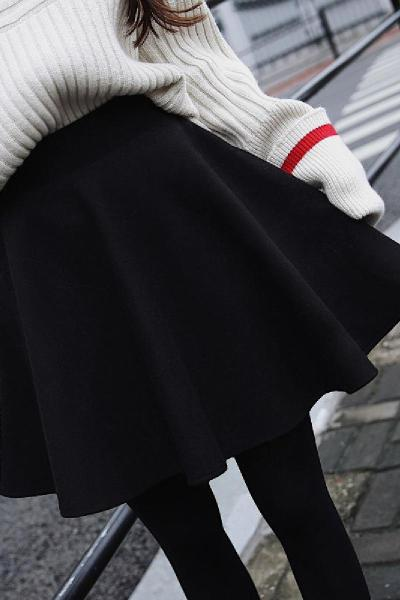 200斤大码半身裙女装2019秋冬新款高腰a字蓬蓬裙伞裙百褶裙短裙子 莎丞