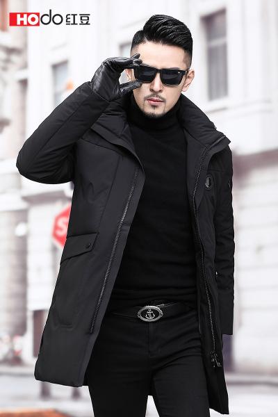 HODO紅豆男裝 男士羽絨服 冬季時尚休閑可脫卸連帽中長款羽絨服外套男