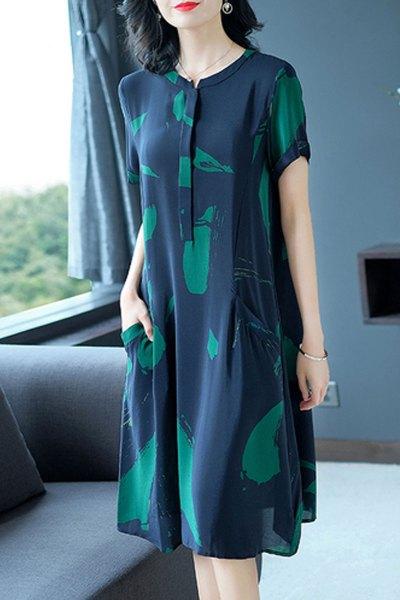 魅芷(MeiZhi)2019新款夏季女装韩版短袖雪纺连衣裙女宽松大码40-50岁妈妈装裙子中长款印花长裙子