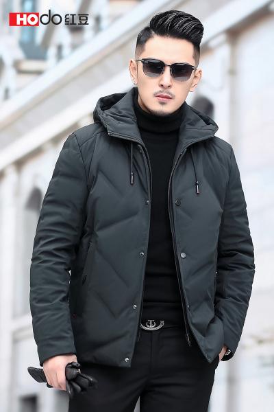 HODO紅豆男裝 男士羽絨服 冬季休閑可脫卸連帽短款保暖羽絨服外套