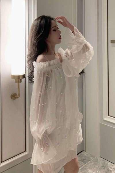 一字肩连衣裙仙女裙一字肩连衣裙秋季超仙女甜美雪纺吊带钉珠网纱裙子法式优雅初恋裙
