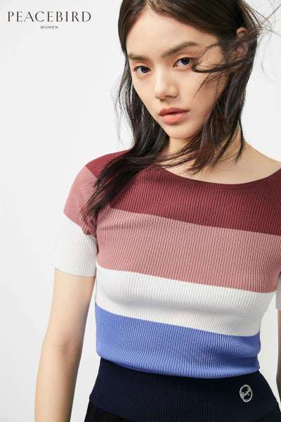太平鸟女装短袖针织衫2019春夏新款条纹撞色圆领修身打底上衣女