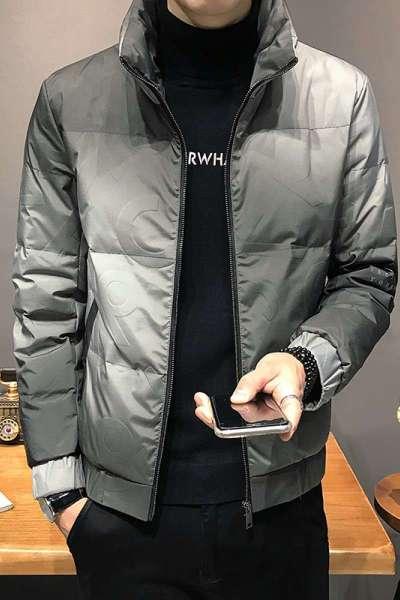 花花公子 ( PLAYBOY ICON )冬季男士羽绒服潮流帅气轻薄外套韩版休闲渐变短款潮流立领羽绒外套