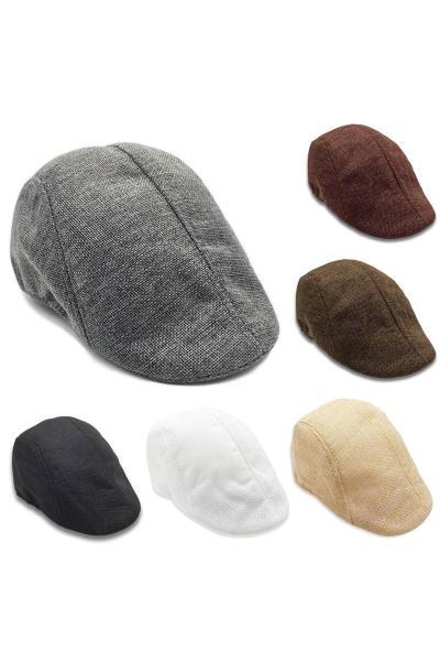 楚綺靈男女士亞麻貝雷帽 帽子春秋季新款舒適透氣鴨舌帽帽子