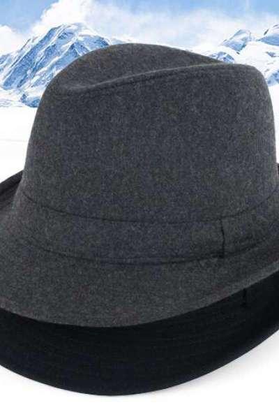 中老年帽子男冬老人帽男春秋天毛呢禮帽人男士爵士帽冬天帽紳士