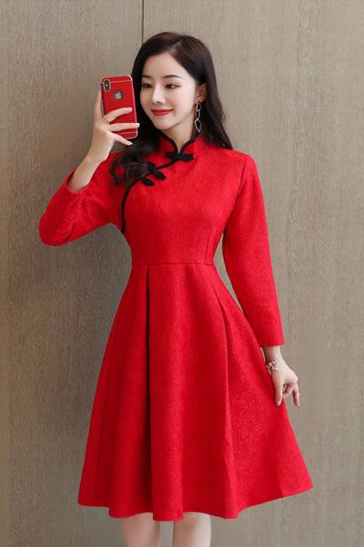 雅馨季中国风红色复古盘扣蕾丝连衣裙2020春季时尚洋气HZ2029