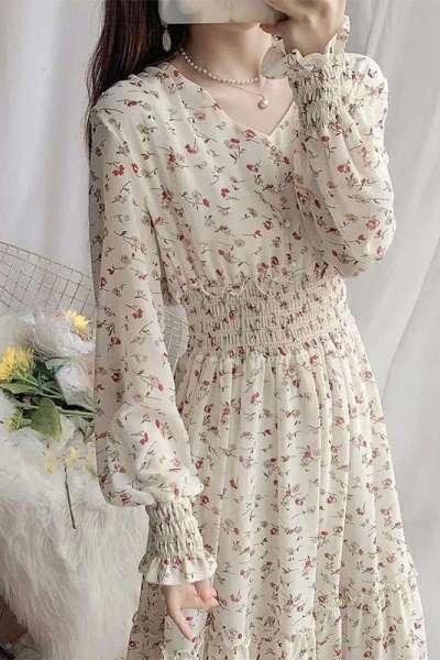 鸟之声2021新款春秋装长袖气质流行裙子碎花雪纺连衣裙长款