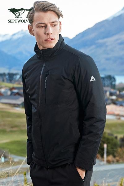 七匹狼戶外運動系列羽絨服男士冬季保暖立領鵝絨輕薄羽絨外套時尚