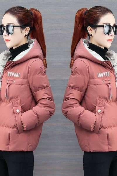 有怡棉服女装棉服外套女2019秋冬季新款韩版修身短款女连帽简约外套ins潮