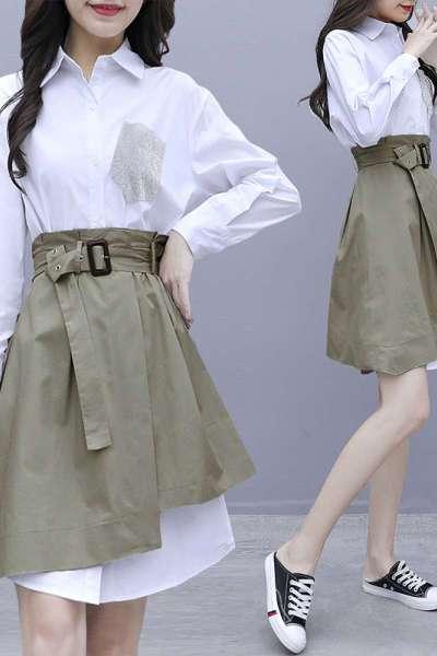 小样传奇 白色衬衫长袖连衣裙套装收腰系带显瘦早秋装新款女装初秋季2019年流行不规则裙子两件