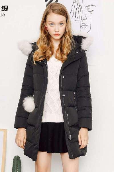 新品拉貝緹秋冬季新款韓版大毛領中長款外套羽絨服厚潮女士60005717