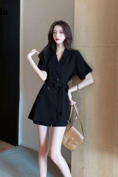 拉夏贝尔2021新法式轻熟风女神范洋气小黑裙名媛御姐高腰黑色西装