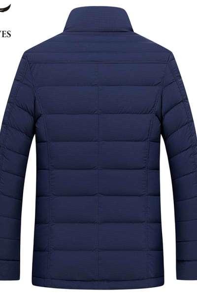 七匹狼轻薄立领羽绒服冬季中青年商务休闲上衣男纯色立领外套