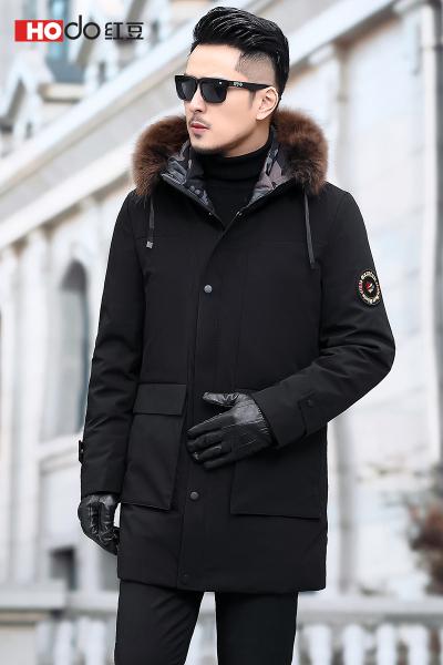 HODO紅豆男裝 男士羽絨服 冬季商務簡約保暖舒適連帽大毛領中長款羽服男外套