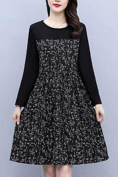 雅馨季大码高端女装裙子胖mm显瘦遮肚胖妹妹秋款碎花连衣裙2021新款洋气