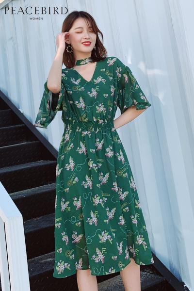 碎花雪纺连衣裙女秋2018新款绿色收腰中长款连身裙仙女裙太平鸟