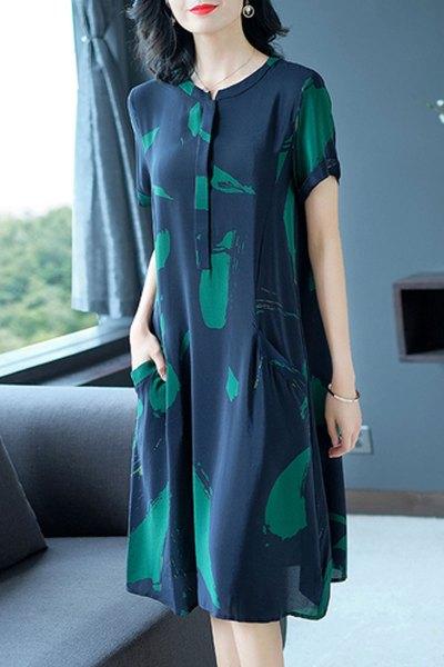 魅芷(MeiZhi)2020新款夏季女装韩版短袖雪纺连衣裙女宽松大码40-50岁妈妈装裙子中长款印花长裙子