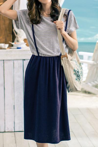 茵曼INMAN夏装新款连衣裙清新条纹假两件减龄背带裙连衣裙女【1882102752】