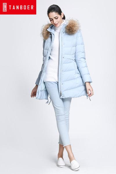 坦博尔冬季新款羽绒服女中长款连帽大毛领韩版斗篷羽绒衣TB3656