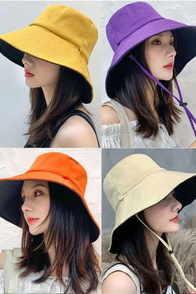 晶颯漁夫帽女夏韓版潮日系網紅雙面遮臉防紫外線帽子大沿防曬帽遮陽帽