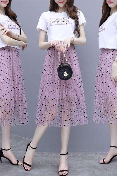 小样传奇 波点半身裙T恤连衣裙中长款两件套女装夏季2020新款韩版气质时尚淑女短袖T恤搭配裙子套装裙