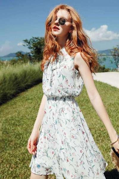 【LT新款】拉夏贝尔无袖夏系带收腰韩版短款宽松雪纺碎花仙女裙子连衣裙