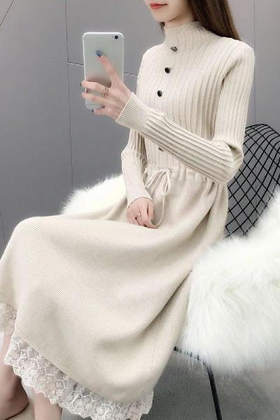 过膝毛衣女针织连衣裙中裙秋冬季新款蕾丝拼接中长款毛衣裙加厚潮 衫伊格(shanyige)