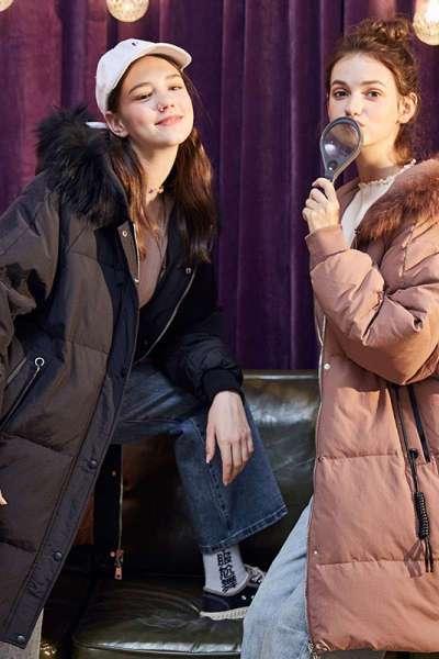 [2件5折]唐獅羽絨服女新款冬裝女時尚羽絨服女中長款