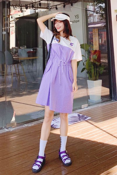 紫色格子拼接连衣裙女秋2018新款韩版收腰小个子连体裙a字连身裙