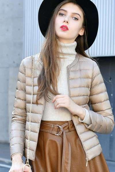 圓領修身羽絨服內膽女短款內穿學生韓版新款輕薄打底加厚無領外套 威珺
