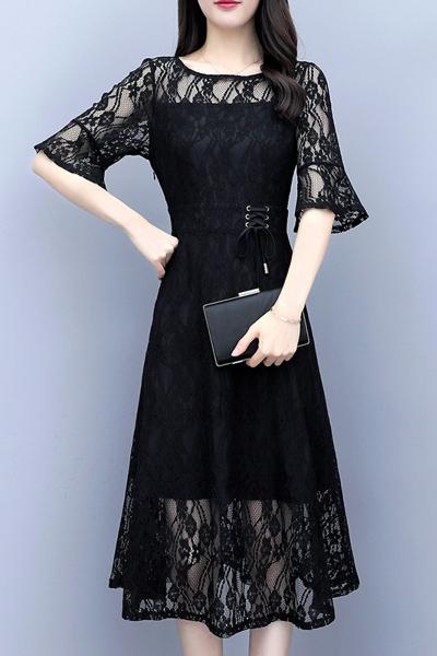 雅馨季蕾絲連衣裙 春夏季新款抽繩修身顯瘦氣質鏤空喇叭袖大擺裙