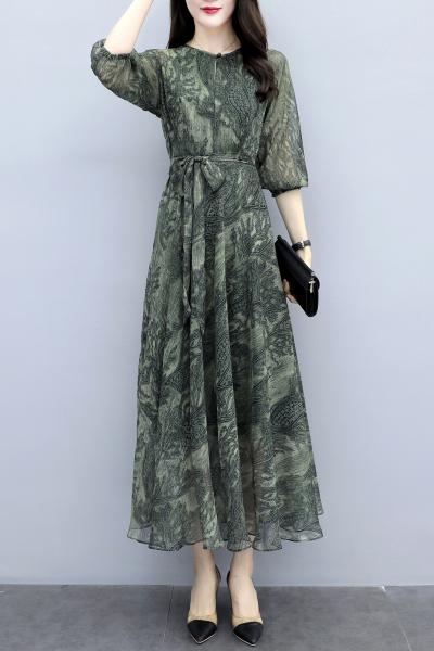 愫惠君2020春季新款女裝修身高腰長款連衣裙女系帶收腰印花長裙8205