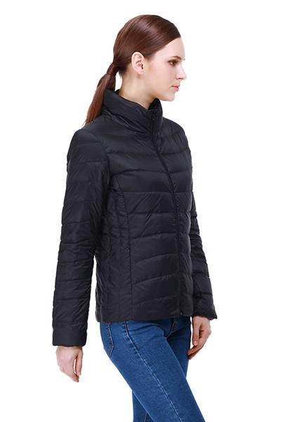 迪欧达轻薄羽绒服女短款立领简约修身显瘦纯色冬季保暖外套