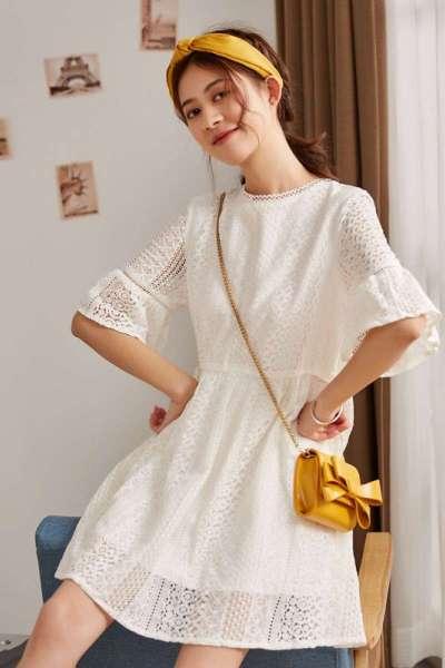1.5折价54.5唐狮蕾丝连衣裙小个子白色法国复古超仙裙子