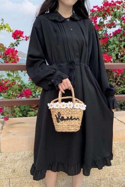 流行女装Lolita日常裙长款过膝可爱甜美连帽防晒连衣裙少女长袖雪纺公主裙