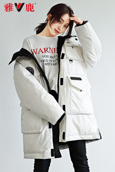 雅鹿羽绒服女中长款2019新款韩版白色羽绒上衣加厚过膝外套