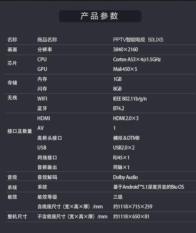 【苏宁专供】PPTV智能电视50UX5