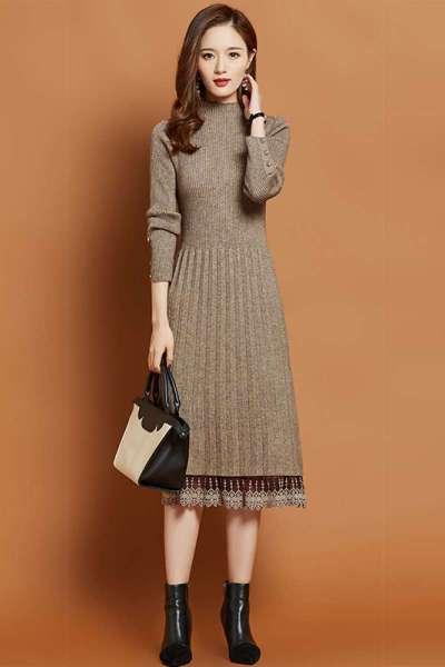 香港潮牌針織連衣裙女 2019秋冬新款時尚紐扣過膝加厚內搭蕾絲毛衣裙