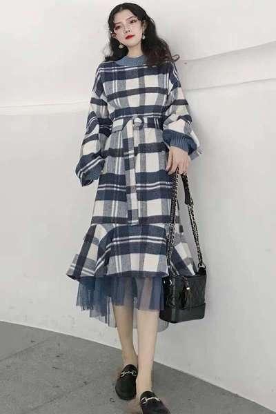 秋季女装2019新款高冷系成熟气质网红洋气冷淡格子连衣裙长袖初秋