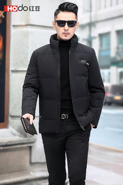 HODO紅豆男裝 男士羽絨服 冬季商務休閑簡約短款立領羽絨服外套男
