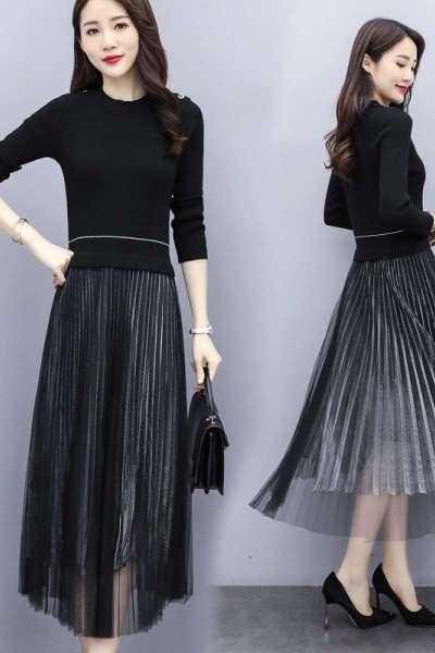 雅馨季褶皺大擺型潮流韓版2020年春季優雅顯瘦連衣裙HZ99953